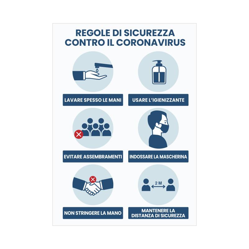 Adesivo regole di sicurezza contro Coronavirus